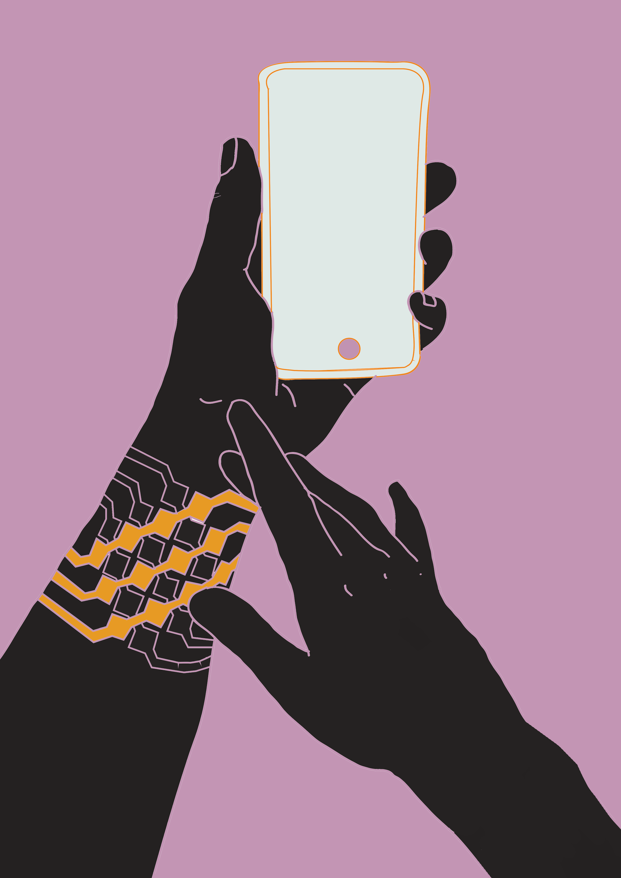 hand and phone
