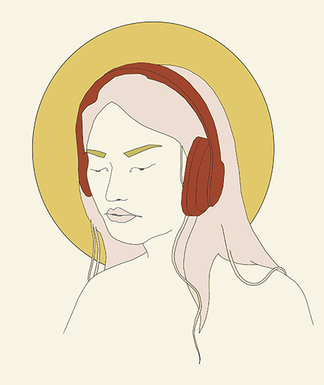 Illustration of Silent Headphones by Kate Kilpatrick-Galbraith V WOLFE